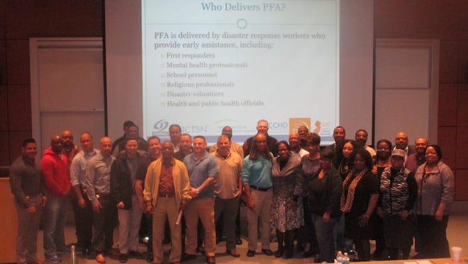 """The """"Psychological First Aid"""" training session sponsored by Paterson police at Passaic County Community College in Wayne."""