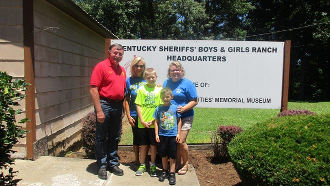 Pictured are boys in attendance during Session 3 (June 25-30, 2017) from Union County: Ayden Simms and Kyle Capps. Also pictured are Union County Sheriff & Mrs. Mickey Arnold, who transported the campers, and Ranch Head Counselor Kayla Mayfield.