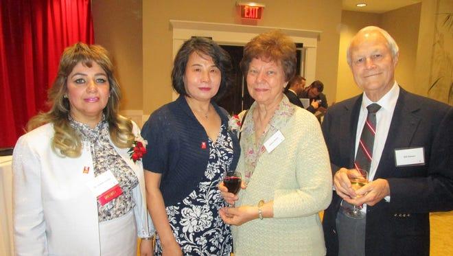 Dr. Febee Louka, Dr. Xiaoduan Sun and Bill and Elaine Simon
