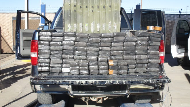 U.S. Customs and Border Protection officers seized 109 bundles of marijuana weighing about 216 pounds inside the bed of a truck Friday at the Presidio port of entry.