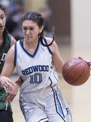 Redwood's Julianna Gutierrez heads to the basket against