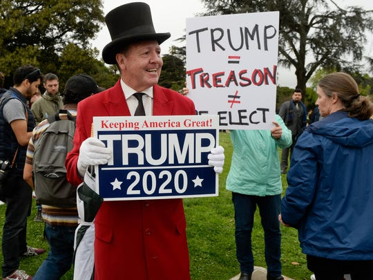Gregg Donovan was one of a handful Trump supporters at an anti-Trump rally at Beverly Gardens Park in Los Angeles on March 13, 2018
