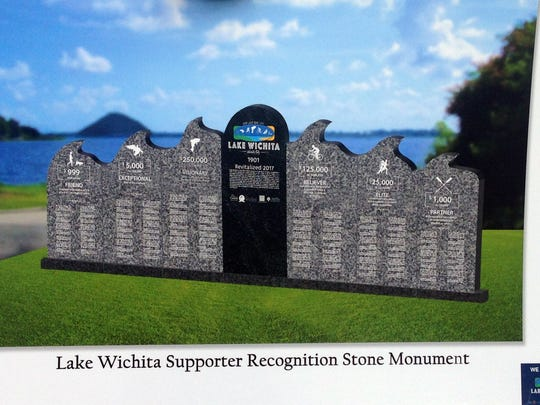 A rendering of a stone monument that will be placed near the boat ramp area off Kemp Boulevard is seen in October 2016. The marker notes donors in all six categories of giving toward the project. All funds for the Lake Wichita revitalization are gathered from donations and grants.