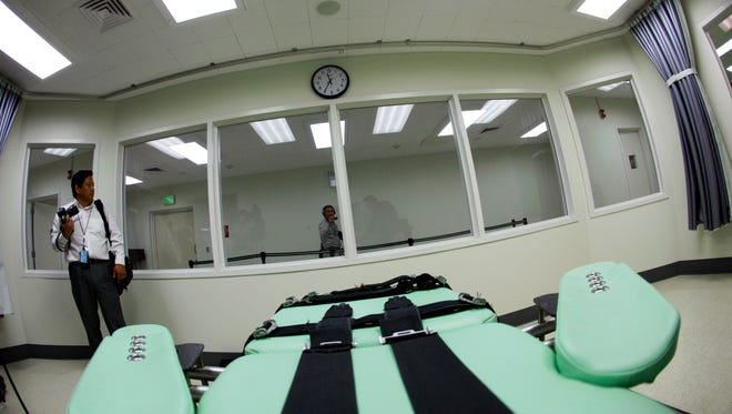 An inmate's view of the interior of the lethal injection facility at San Quentin State Prison