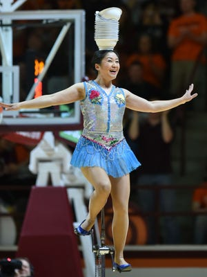 Mar 4, 2017; Blacksburg, VA, USA; Red Panda reacts following her performance at halftime of the game between the Virginia Tech Hokies and Wake Forest Demon Deacons at Cassell Coliseum. Mandatory Credit: Michael Shroyer-USA TODAY Sports
