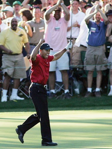 Arguably the best shot of his career, Tiger Woods'
