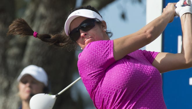 LPGA Gerina Piller hits the ball during the Pro-Am, Wednesday (10/18/15) at the CME Group Tour Championship at the Tiburon Golf Club at the Ritz-Carlton Golf Resort in Naples.