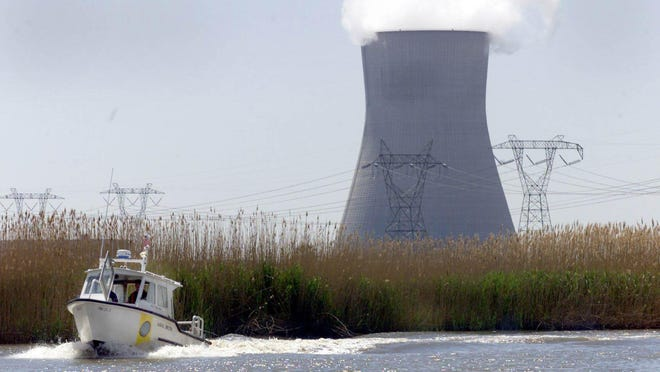 A boat patrols the waters around the nuclear power plant in Salem County.