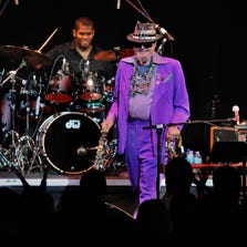 Dr. John is all smiles as he takes the stage to a standing ovation, performing with his Nite Trippers band Thursday evening at the Pensacola Saenger Theatre.