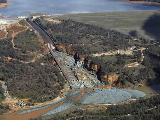 Oroville Dam's crippled spillway Feb. 27, 2017.