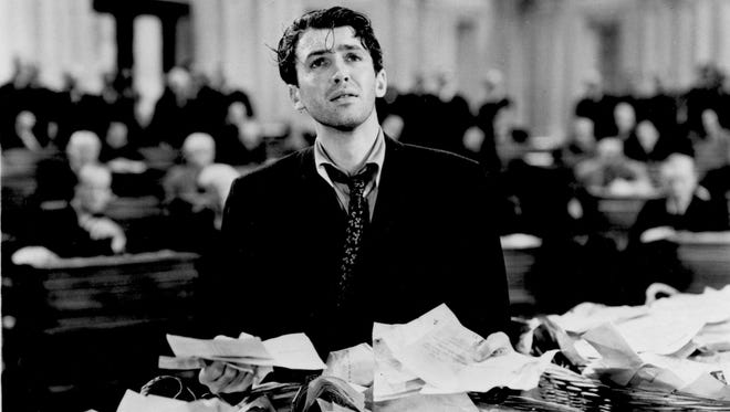 "Jimmy Stewart's character takes on the political power structure in the 1939 movie ""Mr. Smith Goes to Washington."""