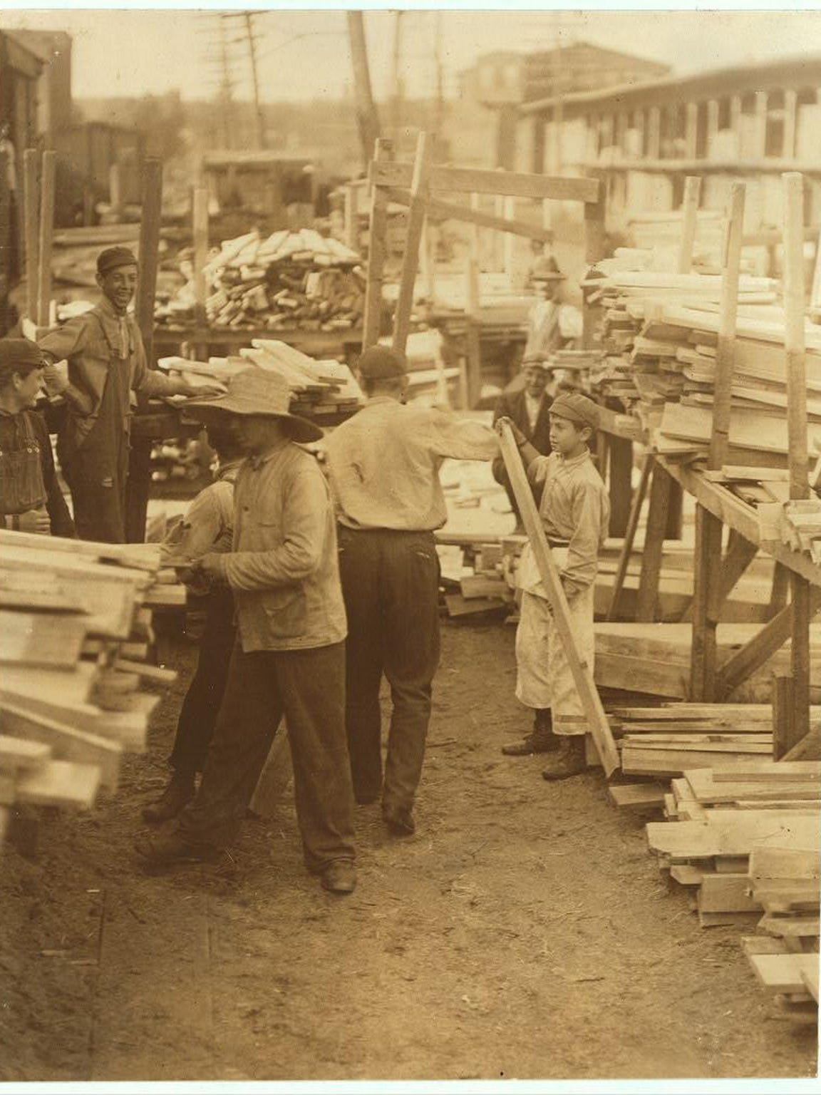 Image 5 - Boys at Hickock Lumber Co., Burlington VT, Lewis W. Hine, 1910 Lib