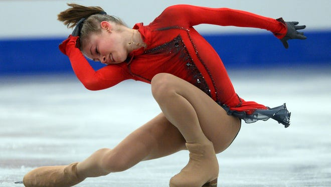 Russia's Julia Lipnitskaia performs during the free skating program at the ISU European Figure Skating Championships.