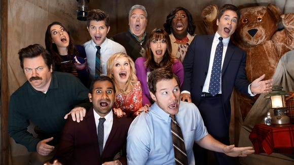 "The cast of ""Parks and Recreation,"" which closes its seven season run Tuesday night at 10 on NBC."