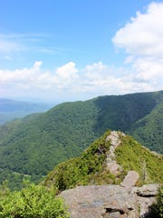 A view from the top of the Chimneys on the Chimney Tops Trail in Great Smoky Mountains National Park.