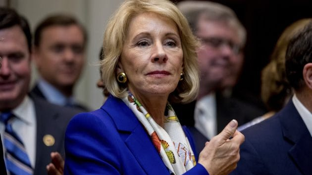 Education Secretary Betsy DeVos in the Roosevelt Room of the White House, March 27, 2017. DeVos is now considering allowing students to use the grants year-round, rather than just for two semesters in any given year.