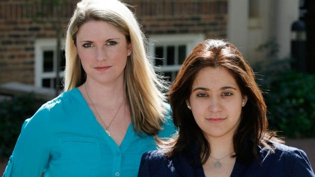 Annie Clark (left)  and Andrea Pino, survivors of sexual assaults at UNC-Chapel Hill, in April 2014. The two were among the first to file Title IX complaints against their school with the Department of Education's Office for Civil Rights, and they have helped organize a movement of other student survivors and activists around the country.
