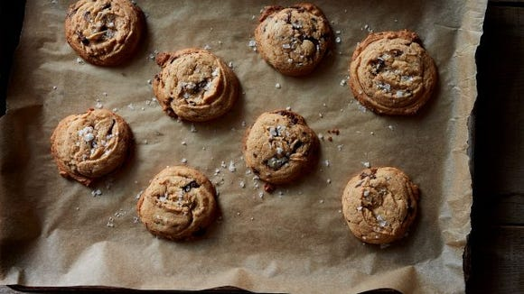 genius salted tahini chocolate chip cookies