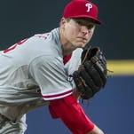 Philadelphia Phillies' Jerad Eickhoff pitches against the Atlanta Braves during the first inning of a baseball game, Saturday, Sept. 19, 2015, in Atlanta. (AP Photo/John Amis)
