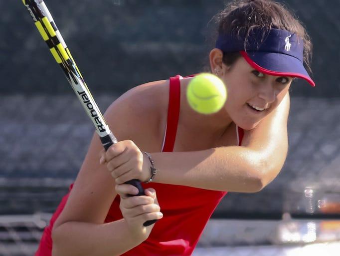 Brookfield East's Emma Corwin blasts a shot over the