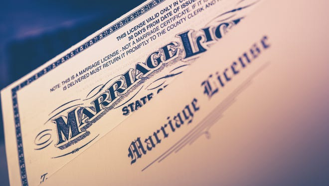Marriage License Documents Closeup.