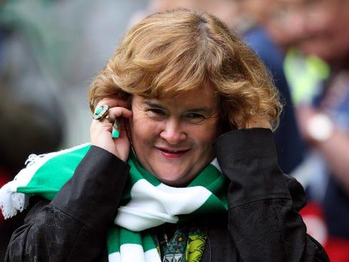 Susan Boyle performs in Glasgow, Scotland, in 2012.