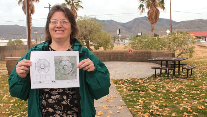 Alamogordo Public Library Manager Sharon Rowe stands in front of the area, on the south side of the library, where the outside event pavilion will be constructed.