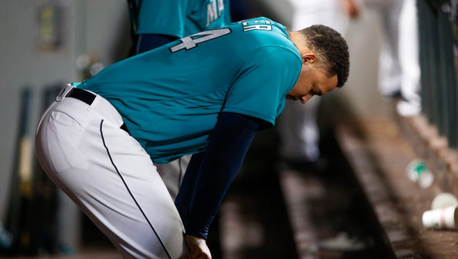 Seattle Mariners starting pitcher Taijuan Walker (44) reacts in the dugout after being relieved against the Toronto Blue Jays during a game last season.