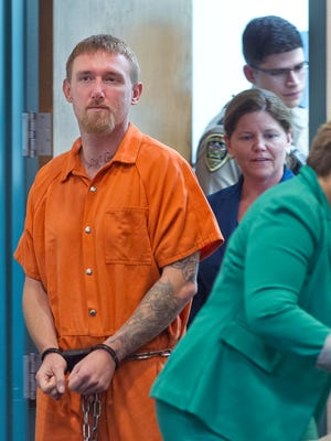 Jesse D. Hanes, 38, appeared Monday morning in 3rd Judicial District Court to be arraigned before Judge Manuel Arrieta on charges related to the slaying of Hatch police Officer José Ismael Chavez. Gary Mook/ for the Las Cruces Sun-News