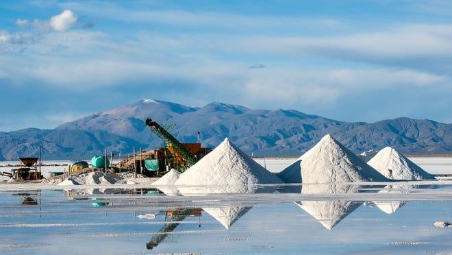 A lithium brine mining operation.