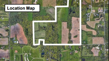 Germantown has its first residential development proposals since 2008. This map shows one of two plans proposed Sept. 11. The plans call for 43single-family lots,south of Freistadt Road, north of Elm Lane and west of Wasaukee Road. The development company is Top Leaf Development LLC, but the 107-acre property is owned byAlan andLynda Luther.