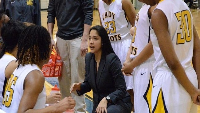 Special to The Times LSUS coach Val Huizar talks with her team during a timeout last season. LSUS coach Val Huizar talks with her team during a timeout last season.