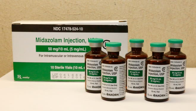 Bottles of midazolam at a hospital pharmacy in Oklahoma City.