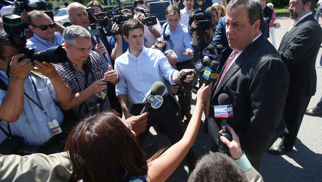 Governor Chris Christie is questioned about Donald Trump after casting his vote in the Primary Election at the Emergency Services Building in Mendham Township. June 7, 2016, Mendham, NJ