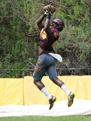 Frank Darby makes a catch during ASU's practices at Camp Tontozona in early August. ASU's receiving crew is considered a strength, but Darby has had a strong fall camp to push for playing time.