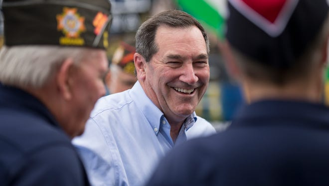 Joe Donnelly, who is running to retain his U.S. Senate seat, visits with veterans of VFW Speedway Post 2839, Sunday, August 20, 2017.