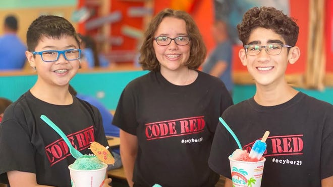 "Ethan Djajadi, Alexa Tindall and Josiah Morales won for 7th graders at the 17th annual eCybermission STEM competion with their project ""Code Red."" The team also won last year."