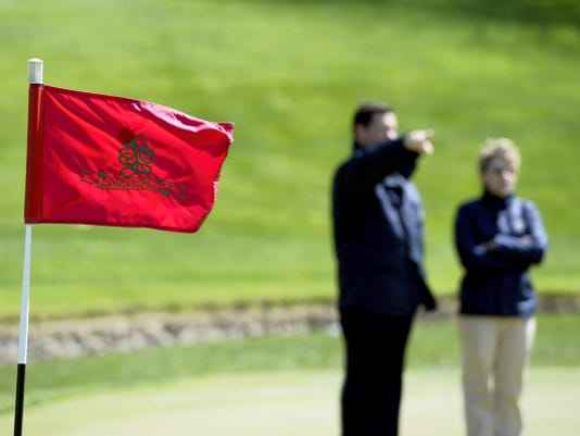 Ben Kimball, executive director of the Women's U.S. Open, and Shannon Rouillard, director of Women's U.S. Amateur and Curtis Cup Match USGA, looked over the the Lancaster Country Club on Friday in preparation for the 2015 Women's U.S. Open. The tournament is scheduled for July 6.