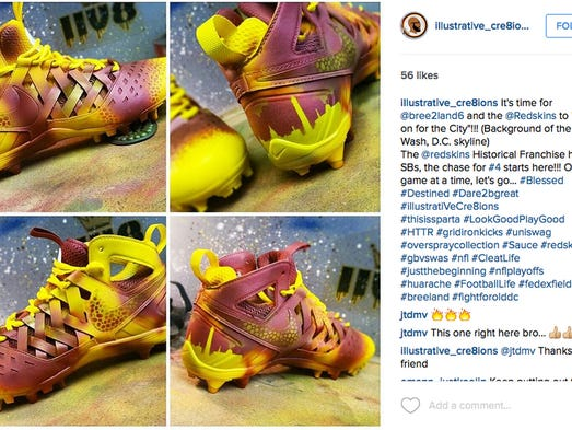 A pair of cleats for Washington Redskins defensive