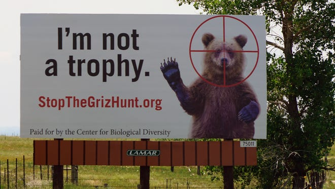 A billboard near the Colorado-Wyoming border asks drivers to oppose a grizzly bear hunt in Wyoming that's scheduled to start Sept. 1.