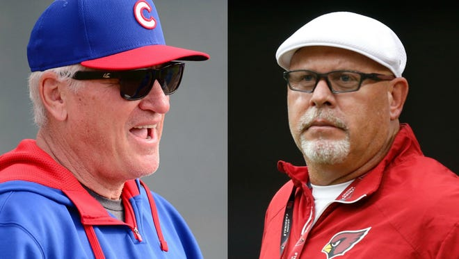 Coach Joe Maddon of the Chicago Cubs rocks a 'cool uncle' vibe with his players, similar to the Cardinals' Bruce Arians.