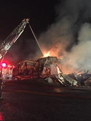 A large barn in the 2400 block of Back Road was destroyed during a fire in the early morning hours of June 25 The barn was a part of Bruce D. Gamble and Sons Feed and Supply.