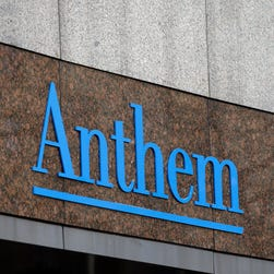 This Wednesday, Dec. 3, 2014, file photo, shows the Anthem logo at the company's corporate headquarters in Indianapolis.