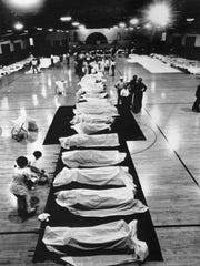 Temporary morgue at Fort Thomas Armory for the victims of the Beverly Hills Supper Club fire.