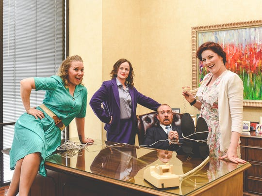 "Doralee Rhodes (Melissa Williams), Violet Newstead (Jennica Lambert), Judy Bernly (Erin Murphy Sherry) and the most hated boss ever, Franklin Hart, Jr. (Rob Kirkland) in ""9 to 5: the Musical"" opening at 7:30 tonight and Saturday at the Backdoor Theatre. The musical runs through May 19."