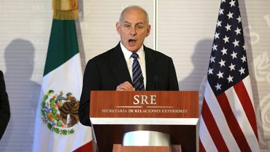 Homeland Security Secretary John Kelly, right, accompanied by Secretary of State Rex Tillerson, speaks at the Mexican Ministry of Foreign Affairs in Mexico City, Mexico, Thursday, Feb. 23, 2017.