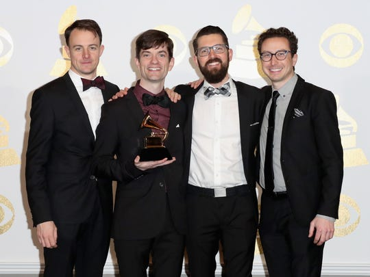"Sean Connors of Third Coast Percussion, holds his group's Grammy for Best Chamber Music/Small Ensemble Performance for 'Steve Reich"" in the press room during The 59th GRAMMY Awards at STAPLES Center on Feb. 12, 2017."
