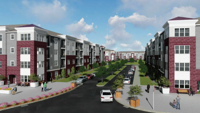 A rendering shows a proposed 370-home complex at the former Victory Refrigeration site off Woodcrest Road in Cherry Hill.