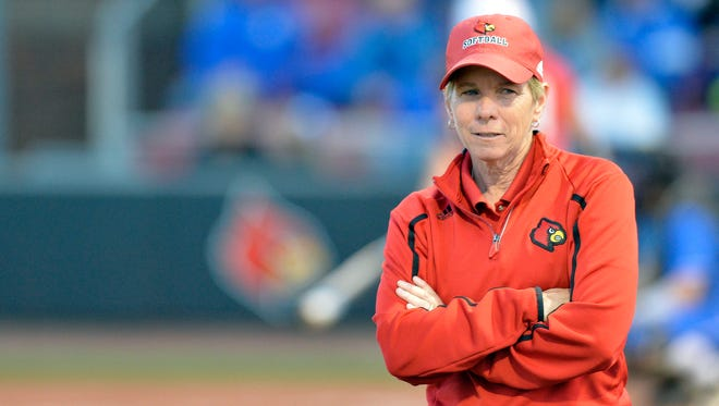 Louisville head coach Sandy Pearsall looks back towards the bench during their game against Kentucky at Ulmer Stadium in Louisville, Ky., Wednesday, April 1, 2015. (Timothy D. Easley, Special to the C-J)
