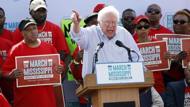 "Sen. Bernie Sanders, I-Vt, tells thousands at a pro-union rally near Nissan Motor Co.'s Canton, Miss., plant, Saturday that he congratulates workers for their courage ""in standing up for justice."""